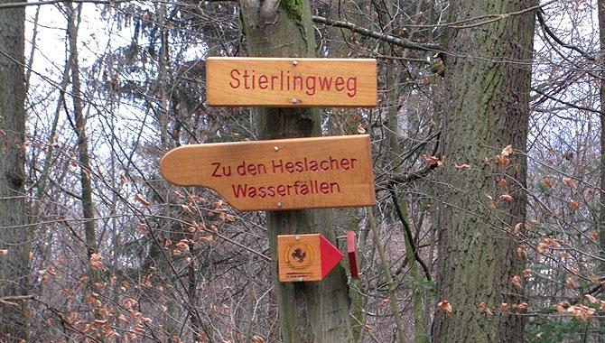 Heslacher-Wasserfälle_Wegweiser