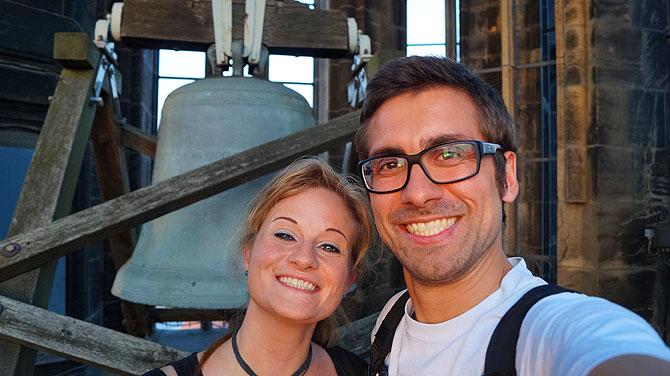 Ich mit Martje Salie, der Türmerin von Münster