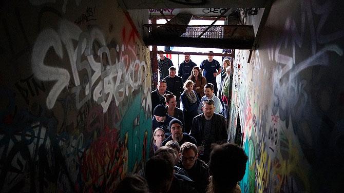 Menschenmenge auf den Teufelsberger Treppen
