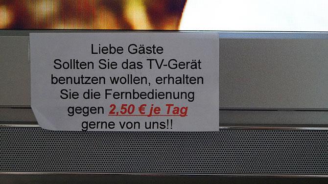 TV schauen kostet was im Nägelehaus, und zwar 2,50 Euro.