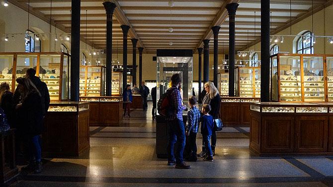 Im Mineralienraum des Museums geht es ruhiger zu.