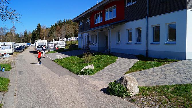 Die Sanitäranlagen des Campingplatz am Schluchsee