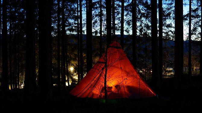 Abendstimmung im Raff Taff Schwarzwald Camp