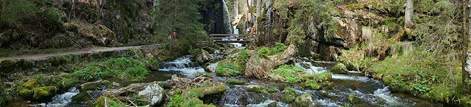 Panorama des Wegs entlang der Menzenschwander Wasserfälle