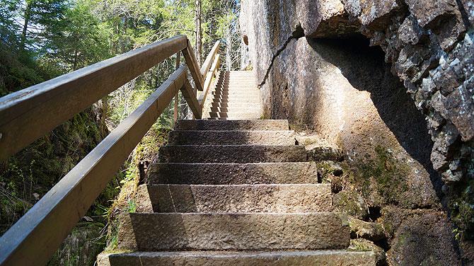 Die Treppe ist steil, aber gut begehbar.