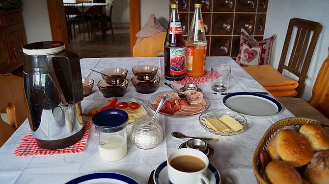 Frühstück in der Pension Hubertus