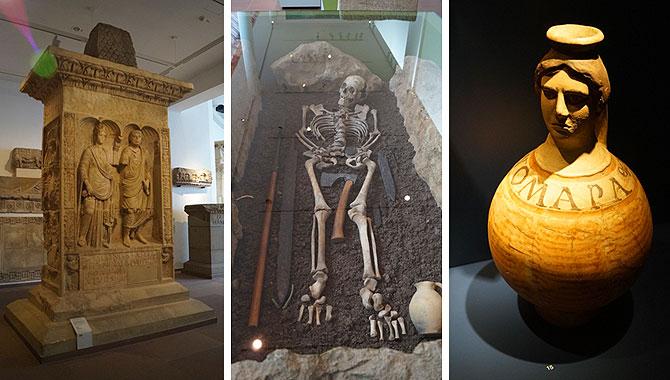 Grabmal, Skelett, römische Vase