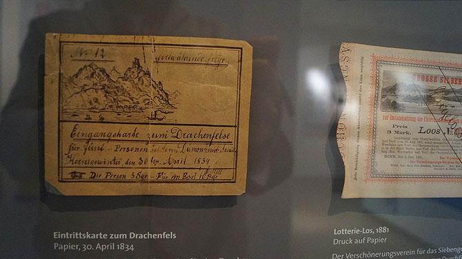 Eintrittskarte zum Drachenfels von 1834