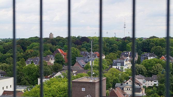 Die Aussicht vom Förderturm geht quasi über das gesamte Ruhrgebiet.
