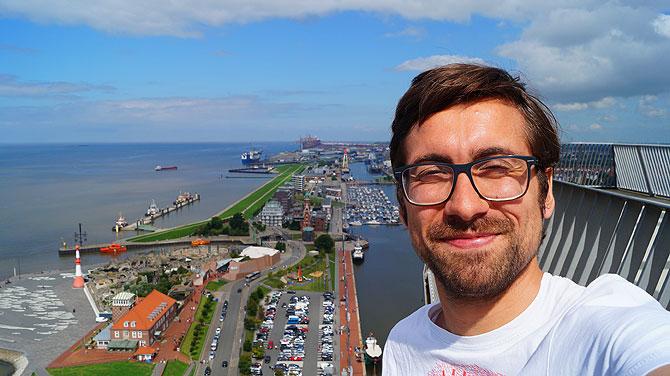 Ich auf der Aussichtsplattform in 86 Meter Höhe.