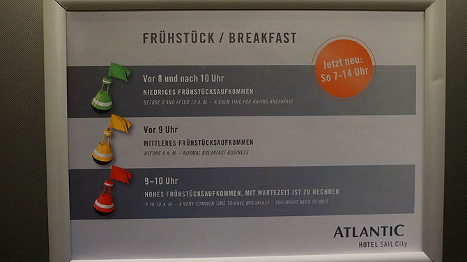 Frühstücksampel im Atlantic Sail City Hotel