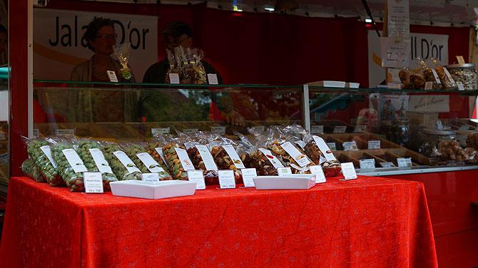 Der Stand auf dem Wochenmarkt in Münster