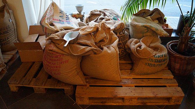 Kaffeesäcke aus Jute