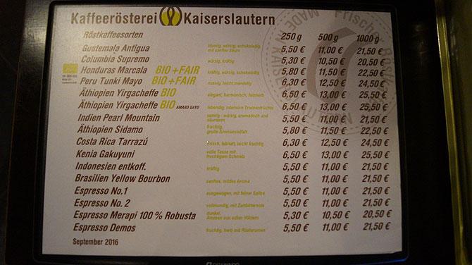 Preise in der Kafferösterei Kaiserslautern