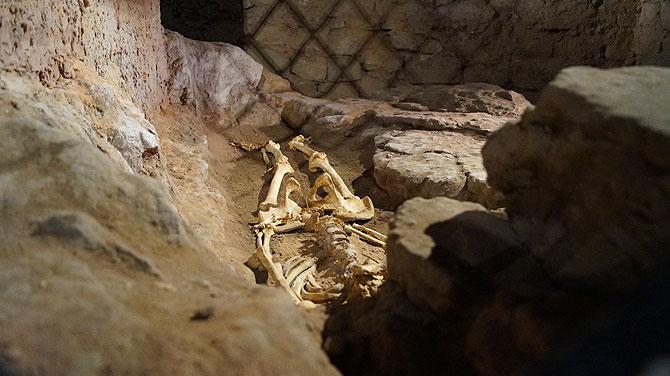 Das Skelett in den unterirdischen Gängen ist echt
