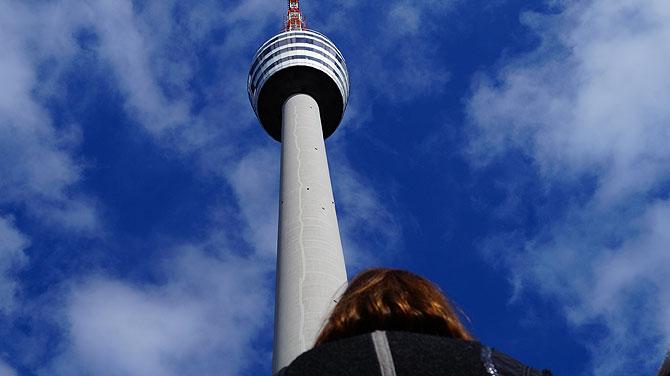 Turmkorb von ganz weit unten betrachtet