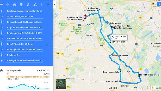 Meine Karte zur Radroute auf dem Erftradweg