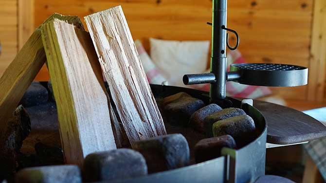 Holzofen in der Sauna