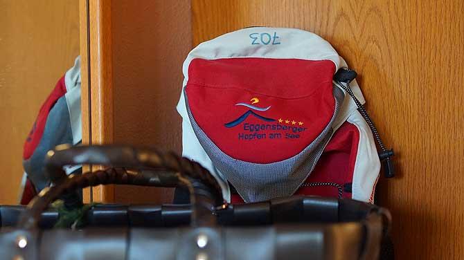 Rucksack im Zimmer ist praktisch