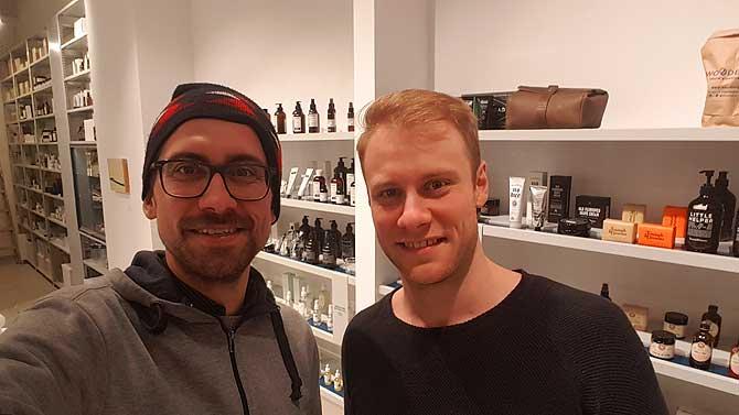 Ich und Christian im Männershop Woodberg in Darmstadt