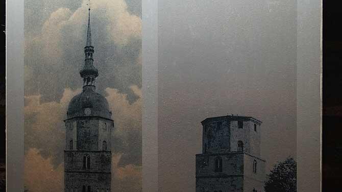 Der Paul Gerhardt Kirchturm von Lübben mit und ohne Haube