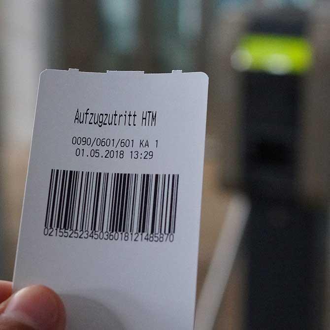 Ticket zum Aufzug