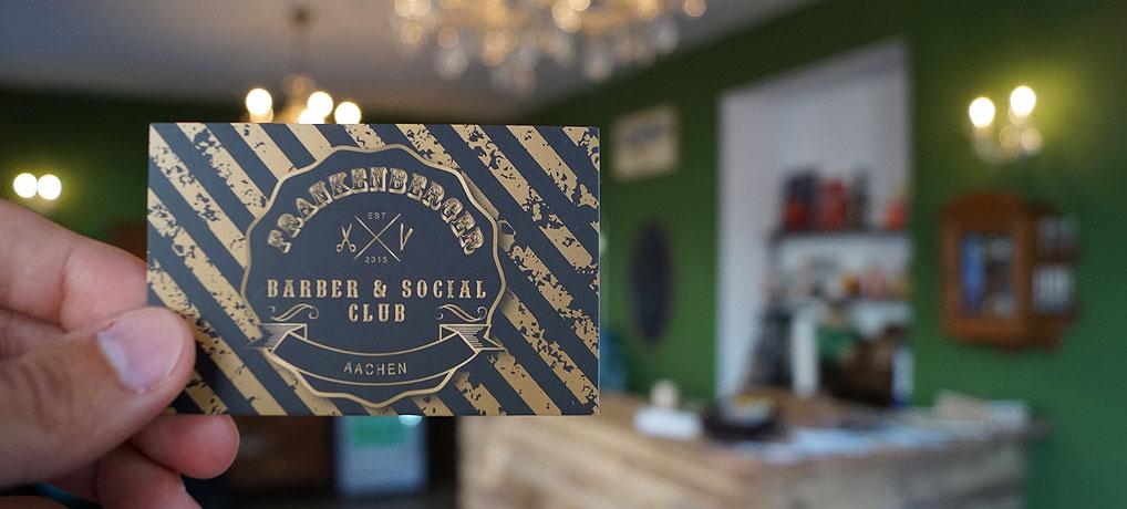 Der Frankenberger Barber & Social Club in Aachen ist ein Frisör nur für Männer. Der Herrenfriseur liegt im hippen Frankenberger Viertel.
