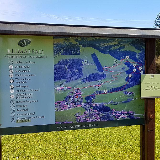 Rund zwei Kilometer lang ist der Klimapfad von Haubers Alpenresort