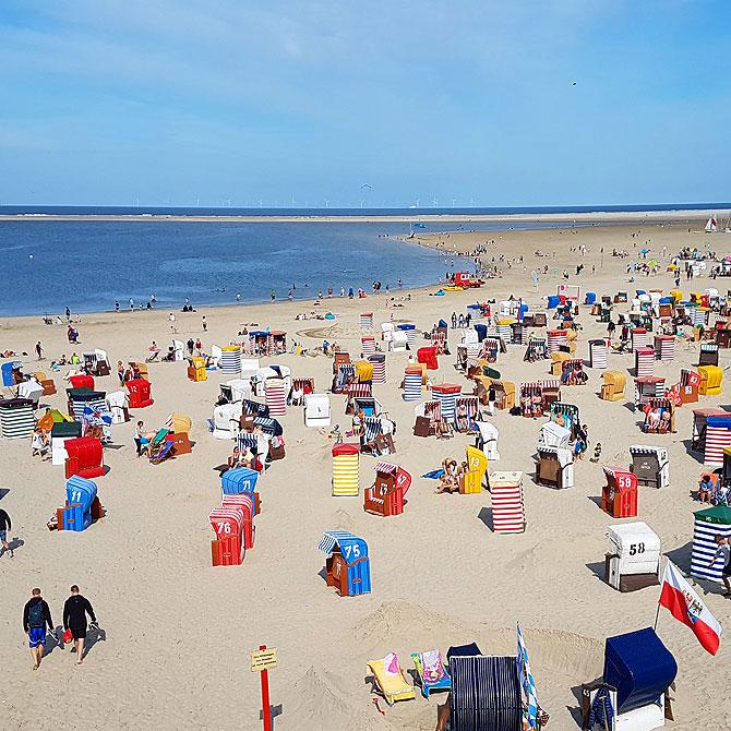 Urlaub auf Borkum bedeutet viele Strandkörbe