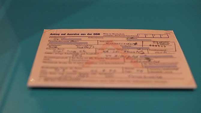 Antrag auf Ausreise aus der DDR