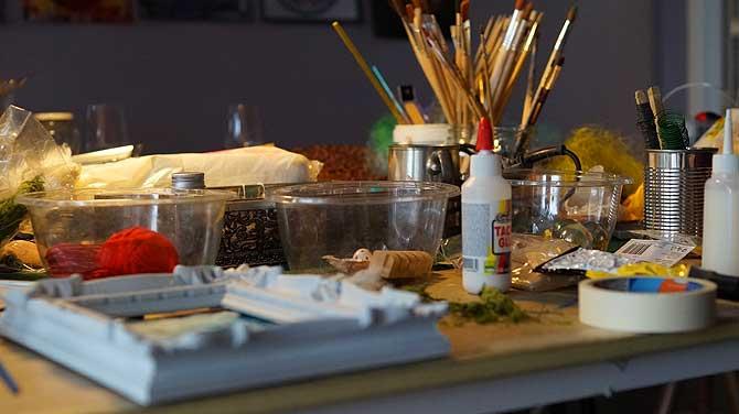 Werkzeugpalette im Atelier