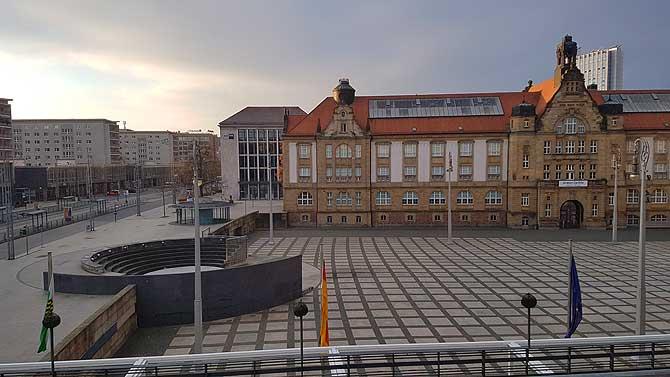 Ausblick vom Zimmer auf Theaterplatz