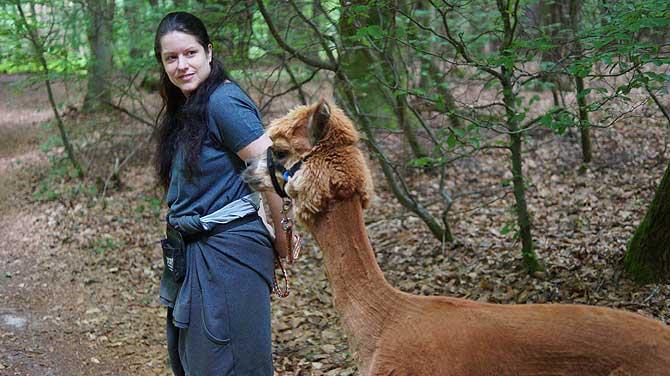 Alpaka Wanderung im Spessart mit Sabrina