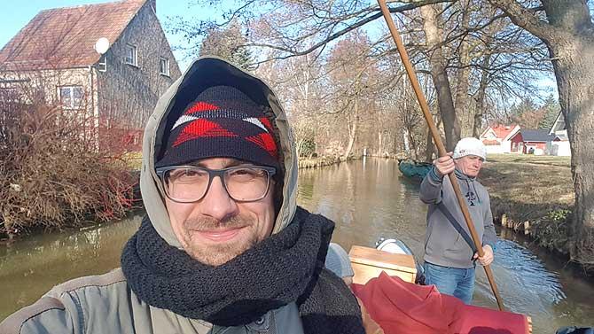 Ich mit Stefan bei der Kahnfahrt im Spreewald