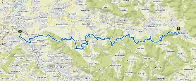 Stuttgarter Megamarsch Strecke