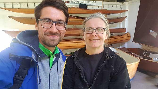 Ich und Ursula Latus, die Bootsbauerin von Usedom