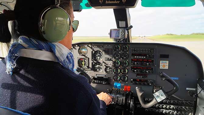 Einzige Pilotin der Flugflotte