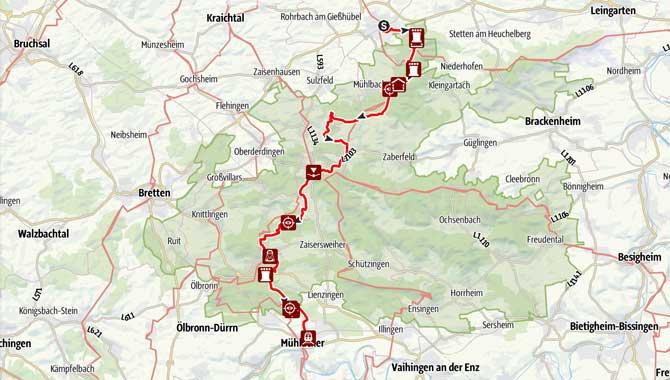 Karte Strecke Routenverlauf Wandermarathon Eppinger Linie