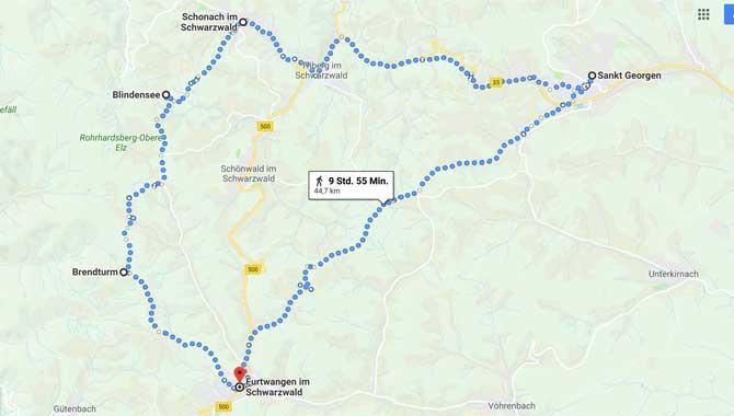 Karte vom Ferienland Schwarzwald