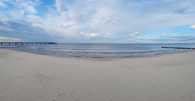 Panorama vom Strand in Bansin auf Usedom