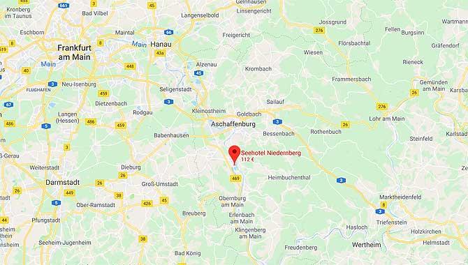 Google Maps Lage Anfahrt zum Seehotel Niedernberg