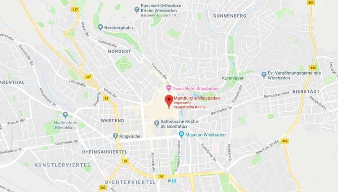 Anreise und Lage der Sehenswürdigkeiten in Wiesbaden