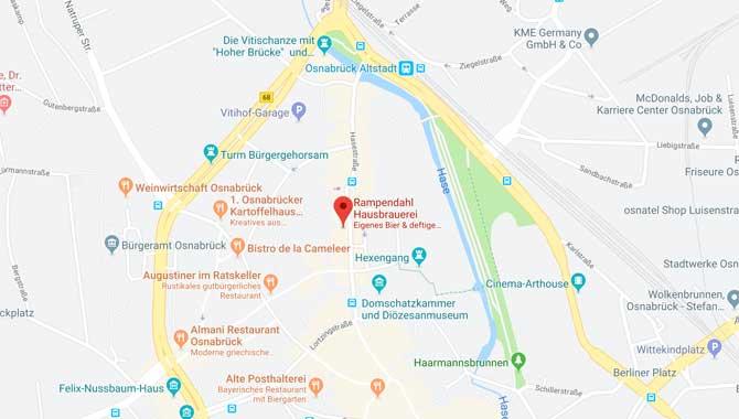 Anfahrt zur Brauerei Rampendahl in Osnabrück