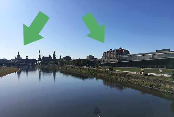 Links Frauenkirche, rechts Maritim Hotel Dresden