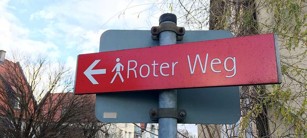 Der Rote Weg in Memmingen führt an vielen schönen Sehenswürdigkeiten vorbei