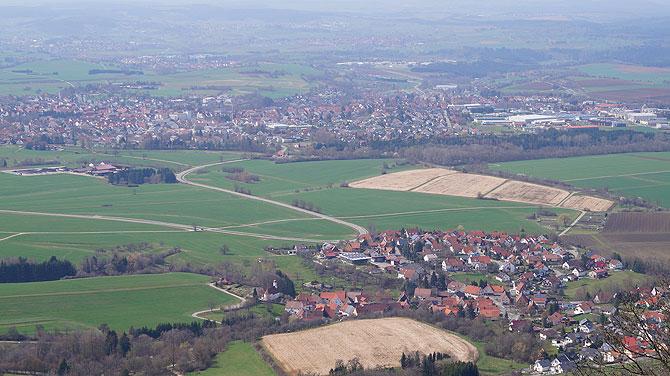 Blick von Burg Hohenzollern auf Hechingen