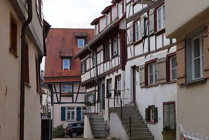 Fachwerk-Häuser auf dem Weberberg Biberach