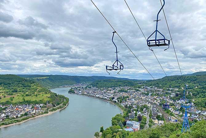 Seilbahn Boppard Sessellift über dem Rhein