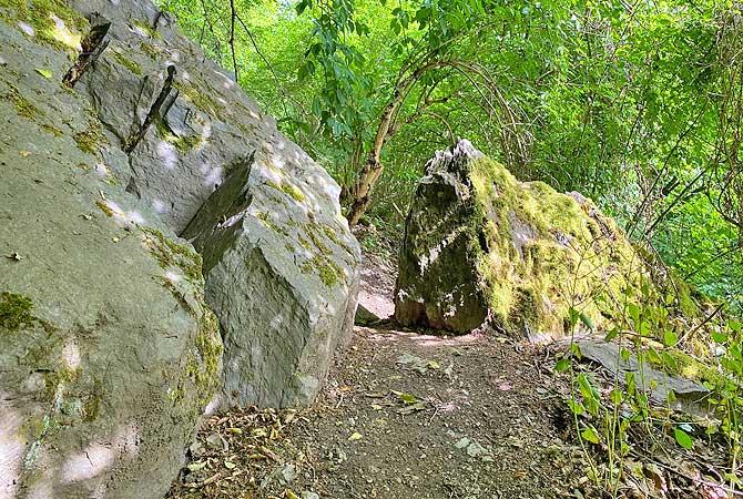 Wanderweg mit Felsen auf dem Mittelrhein-Klettersteig