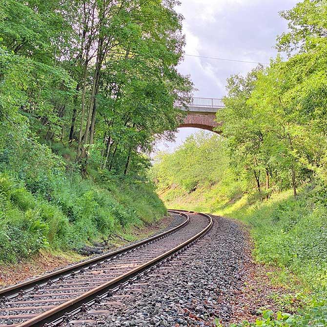 Bahn-Schiene und Überführung